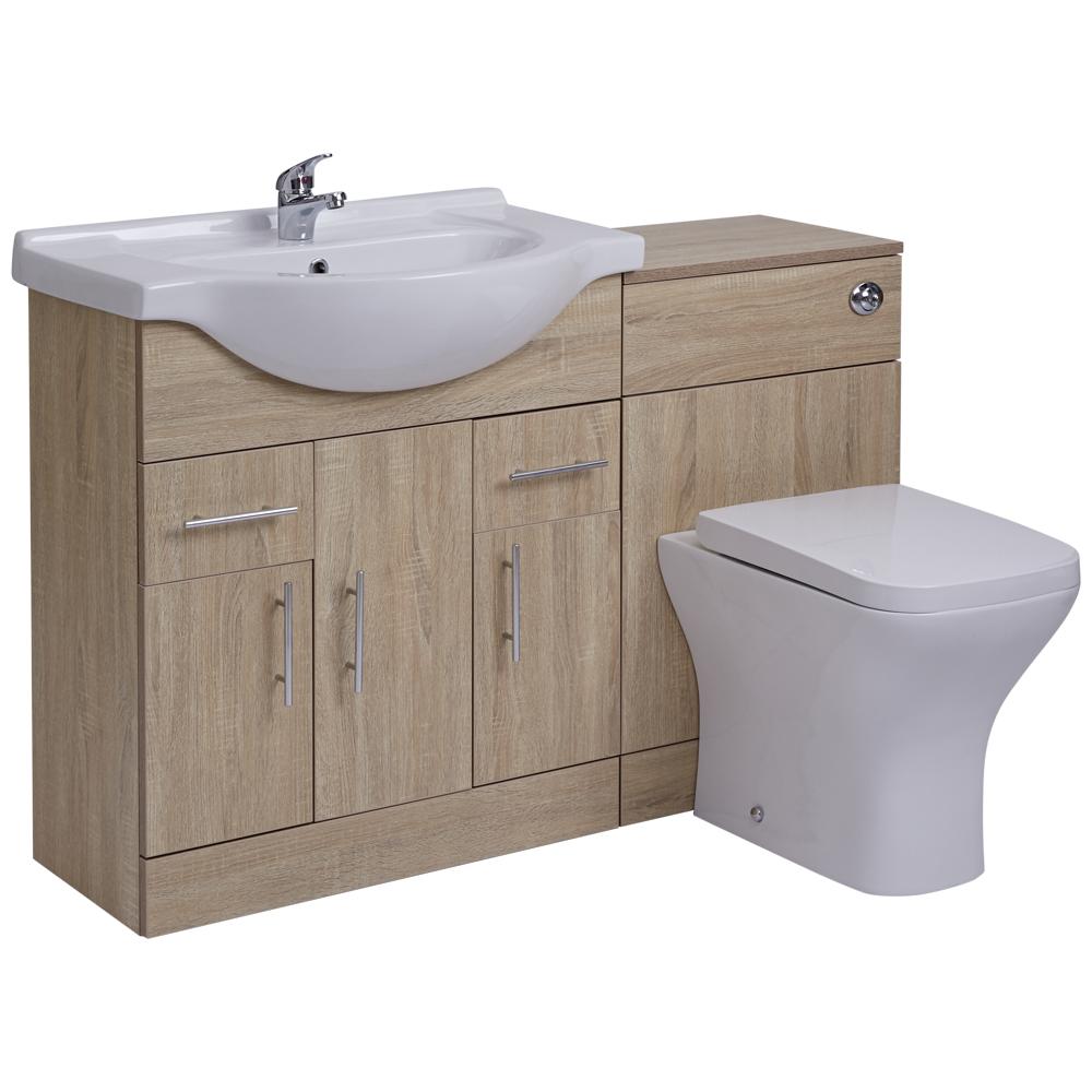BASIC Wastafelmeubel & Toiletcombinatie 124cm x 82cm x 81cm