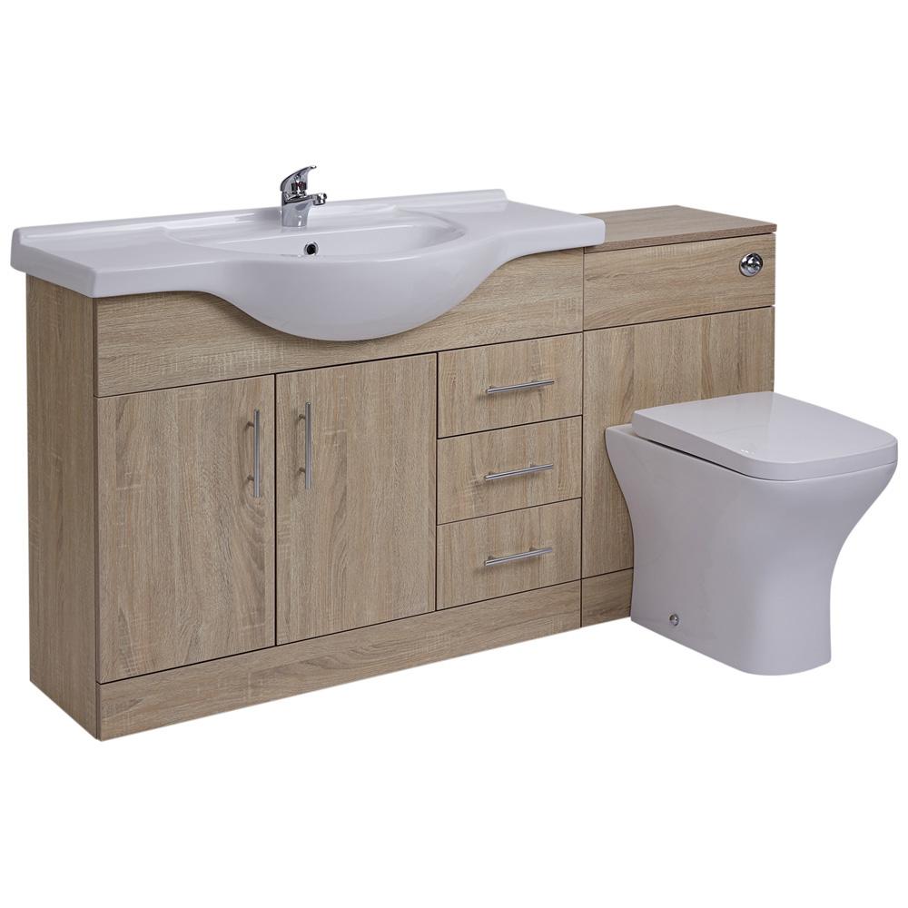 BASIC Wastafelmeubel & Toiletcombinatie 144cm x 88cm x 82cm (gehoekte uitvoering)