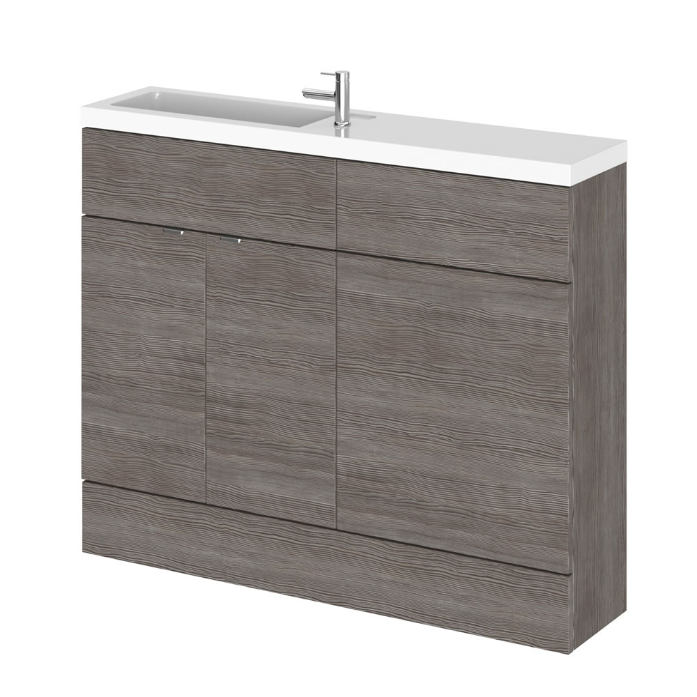 110cm x 25,5cm Modern Grijs/Bruin Staand Wastafel & Toiletmeubel-combinatie