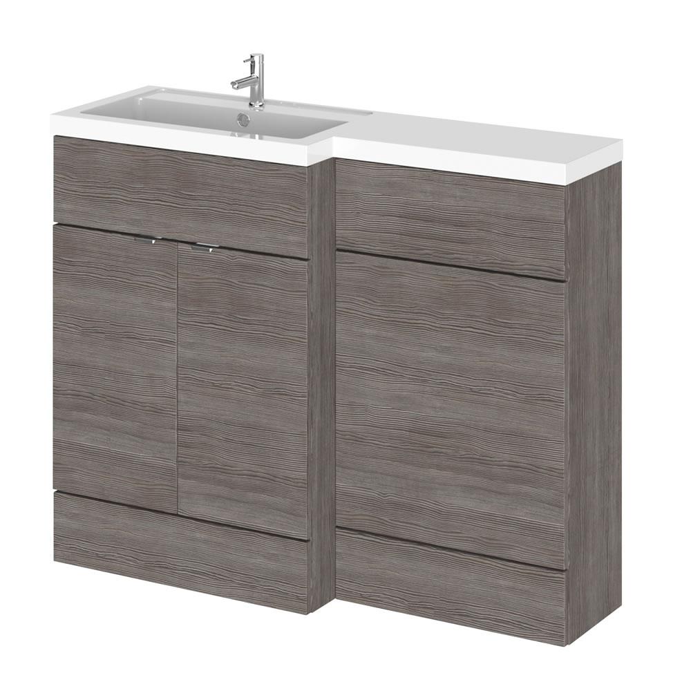 Uitvoering 110cm x 35,5cm Modern Grijs/Bruin Staand Wastafel & Toiletmeubel-combinatie - Linker Uitvoering