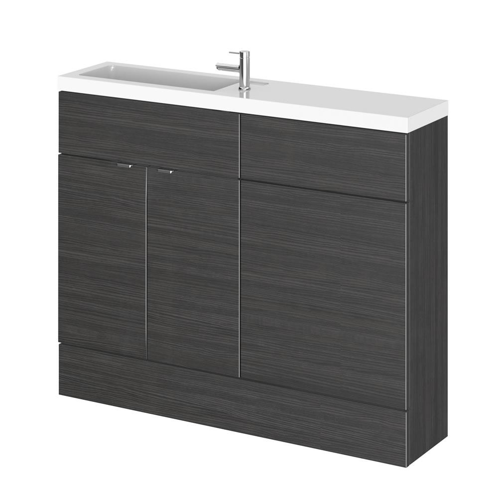 1100mm x 255mm Zwart Staand Wastafel & Toiletmeubel-combinatie
