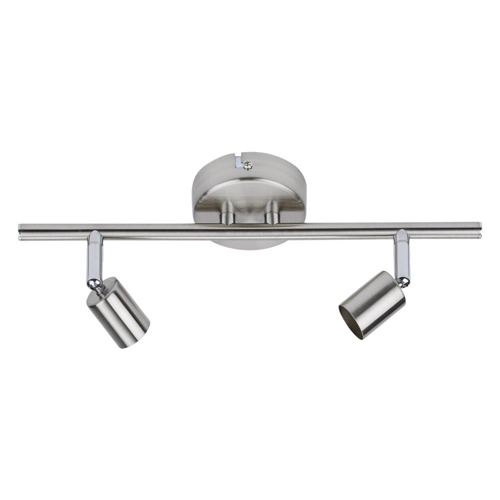1 x GU10 RVS Plafondspot met 2 spots - Satijn Nikkel