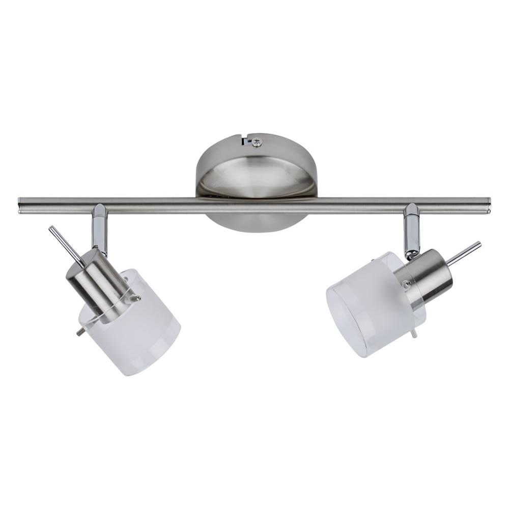 Biard GU10 RVS Plafondspot met 2 spots - Satijn Nikkel / mat glas