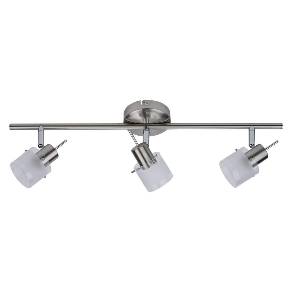 Biard GU10 RVS Plafondspot met 3 spots - Satijn Nikkel / glas