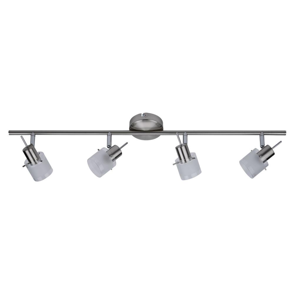 1 x GU10 RVS Plafondspot met 4 spots - Satijn Nikkel / Mat Glas