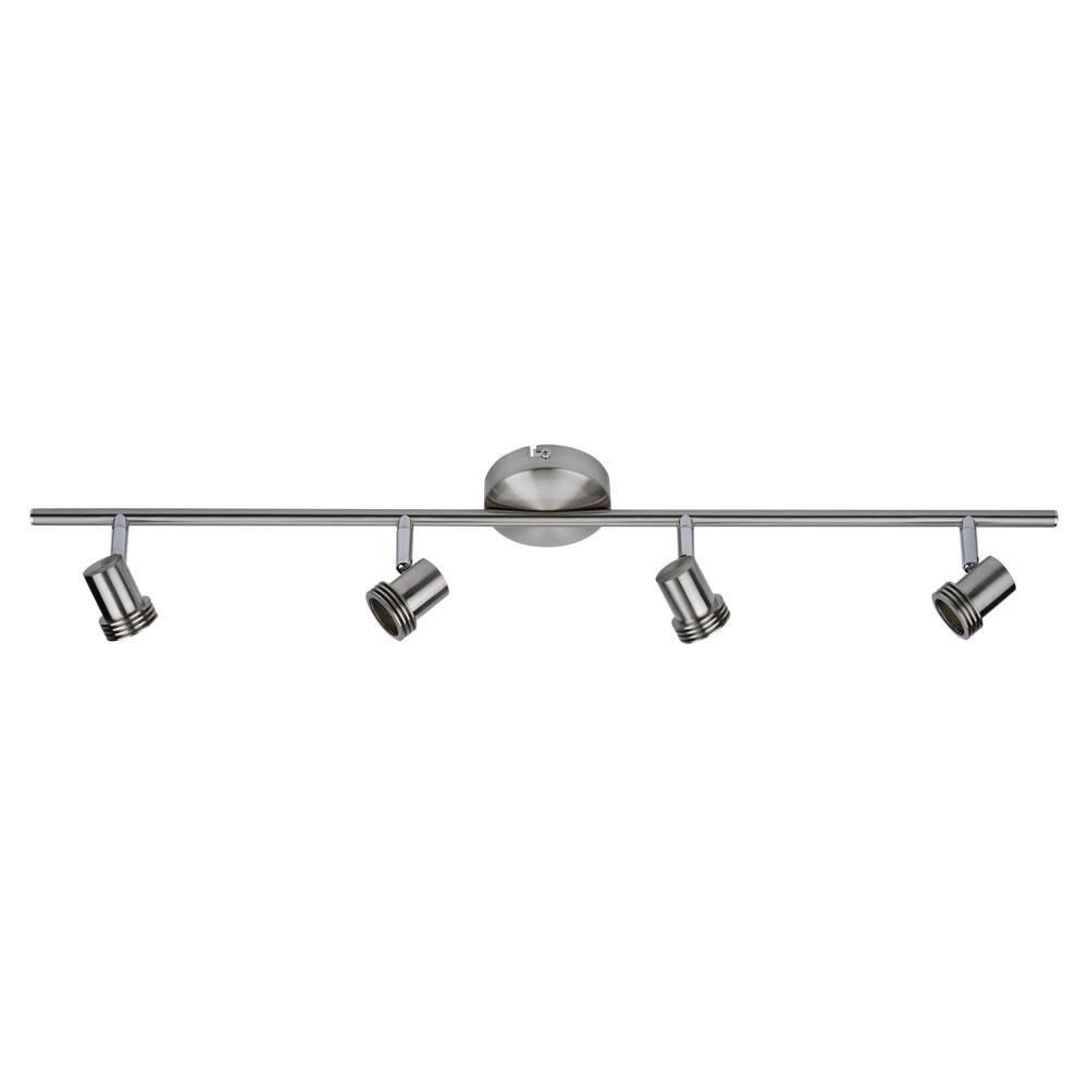 1 x GU10 RVS Plafondspot met 4 spots - Satijn Nikkel