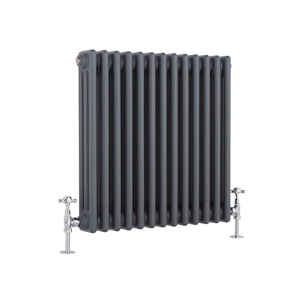 Windsor Designradiator Horizontaal Klassiek Antraciet 60cm x 58,5cm x 10cm 1060 Watt