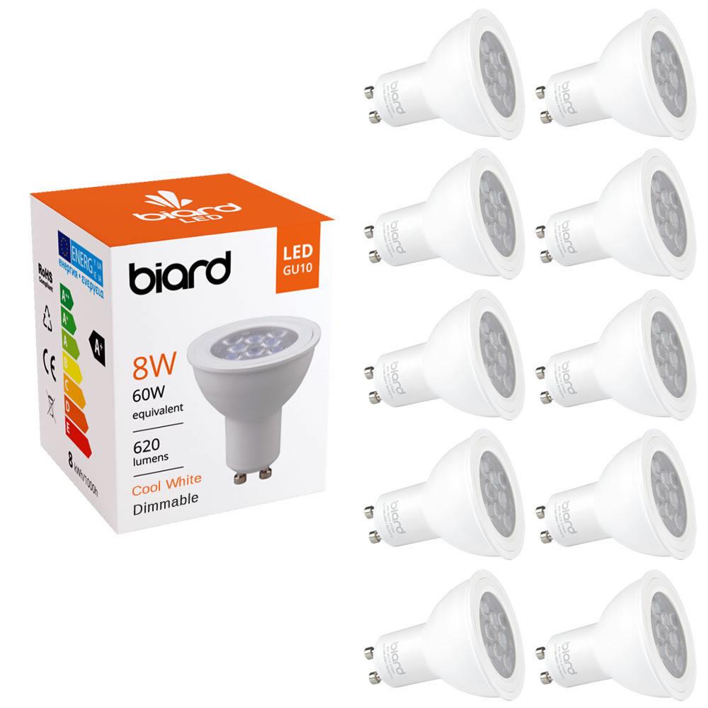 Biard 10 x GU10 8W LED Spot - Vervangt 60W - Dimbaar