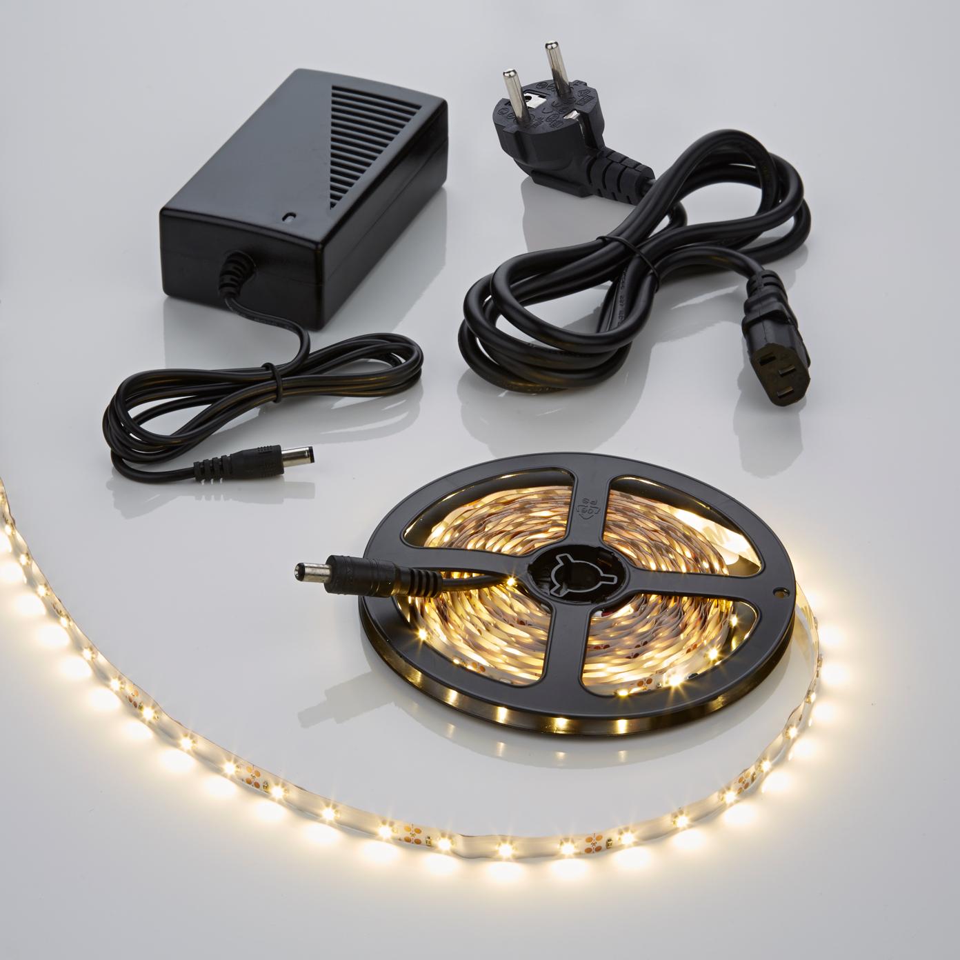 1 x IP20 3528 LED strip verlichting incl Driver & Kabel - 5 meter - Warm Wit