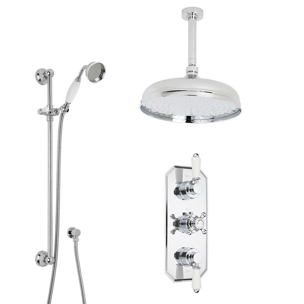 Kristal Triple 2-weg Traditionele Inbouw Thermostaatkraan met plafond douche-arm en hoofddouche(d