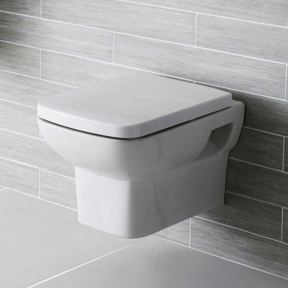 Vierkant Zwevend Wit Keramisch met Toiletzitting - Pk Uitlaat