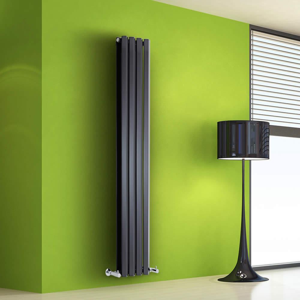 Helius Designradiator Verticaal Zwart 160cm x 28cm x 8,6cm 983 Watt
