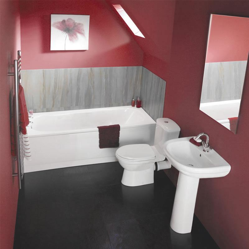 Breve Badkamerset inclusief Ligbad, Wastafel en Toilet