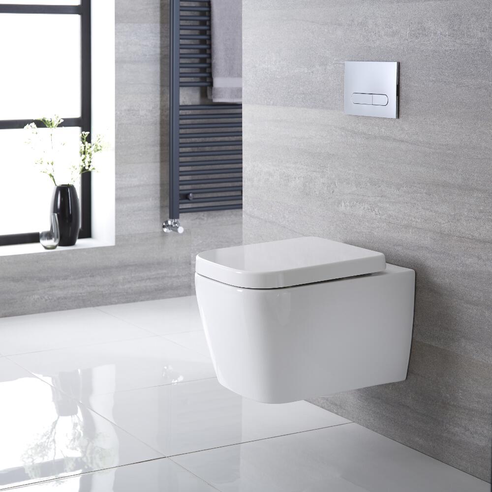 Milton Hangend Keramiek Toilet incl WC Bril Vierkant Wit