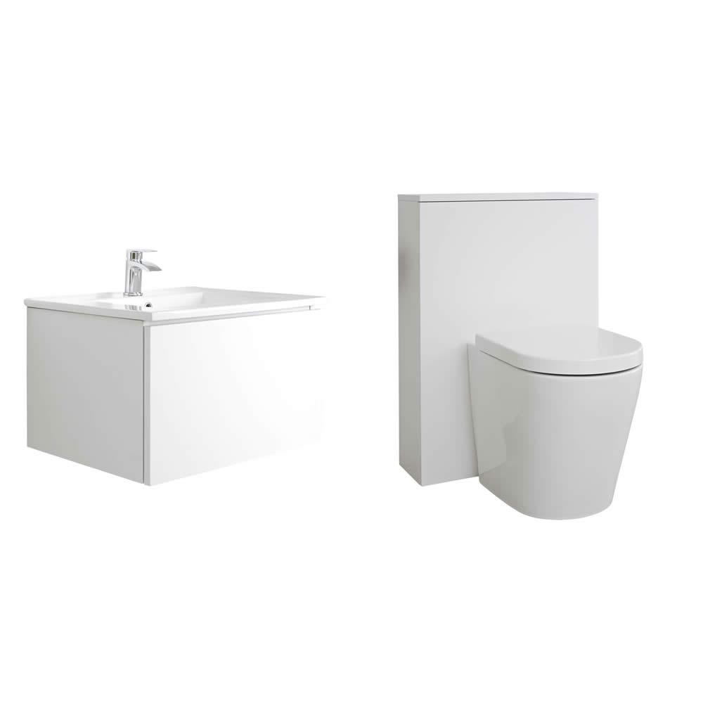 Newington Hangend Wastafelmeubel 60cm Mat Wit incl. Keramische Wasbak - Toilet Ombouw & Staand Toilet