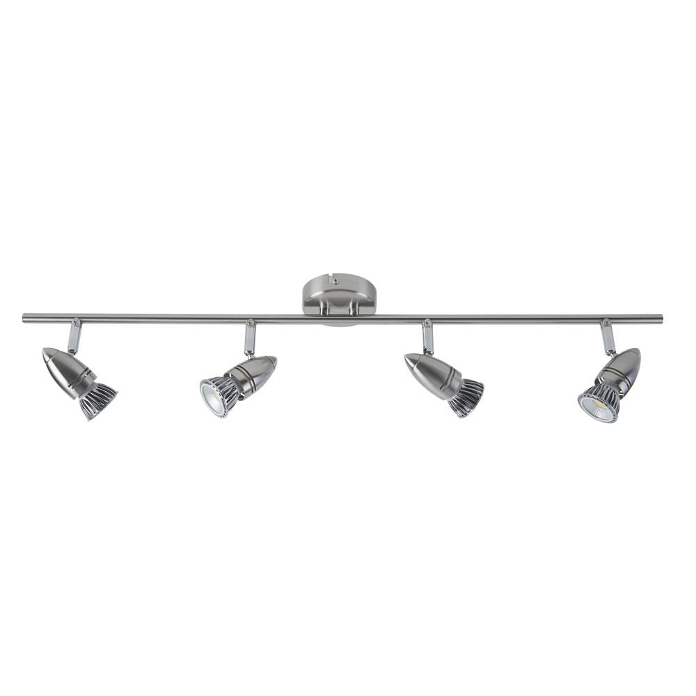 Biard GU10 RVS Plafondspot met 4 spots - Satijn Nikkel
