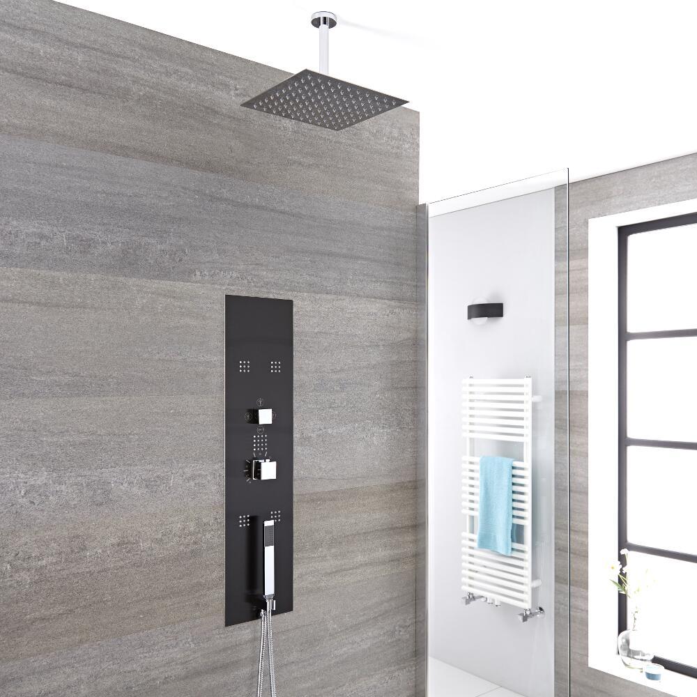 Llis 3-weg Inbouw Thermostatisch Douchepaneel Staalgrijs Plafond Douchekop 20 x 20cm Handdouche & Bodyjets