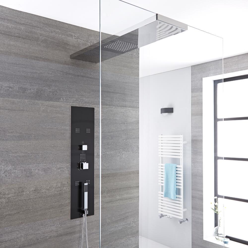 3-weg Thermostatisch Inbouw Douchepaneel Staalgrijs Douchehemel 90 x 25cm (voor bevestiging douchewand) Handdouche & Bodyjets