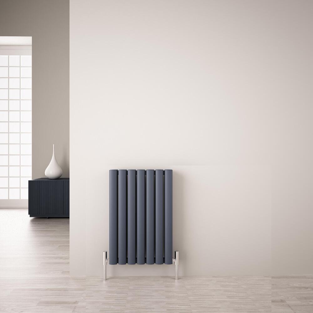 Revive Air Horizontale Aluminium Dubbelpaneel Designradiator - 60cm x 41cm x 7,6cm Antraciet 804 Watt