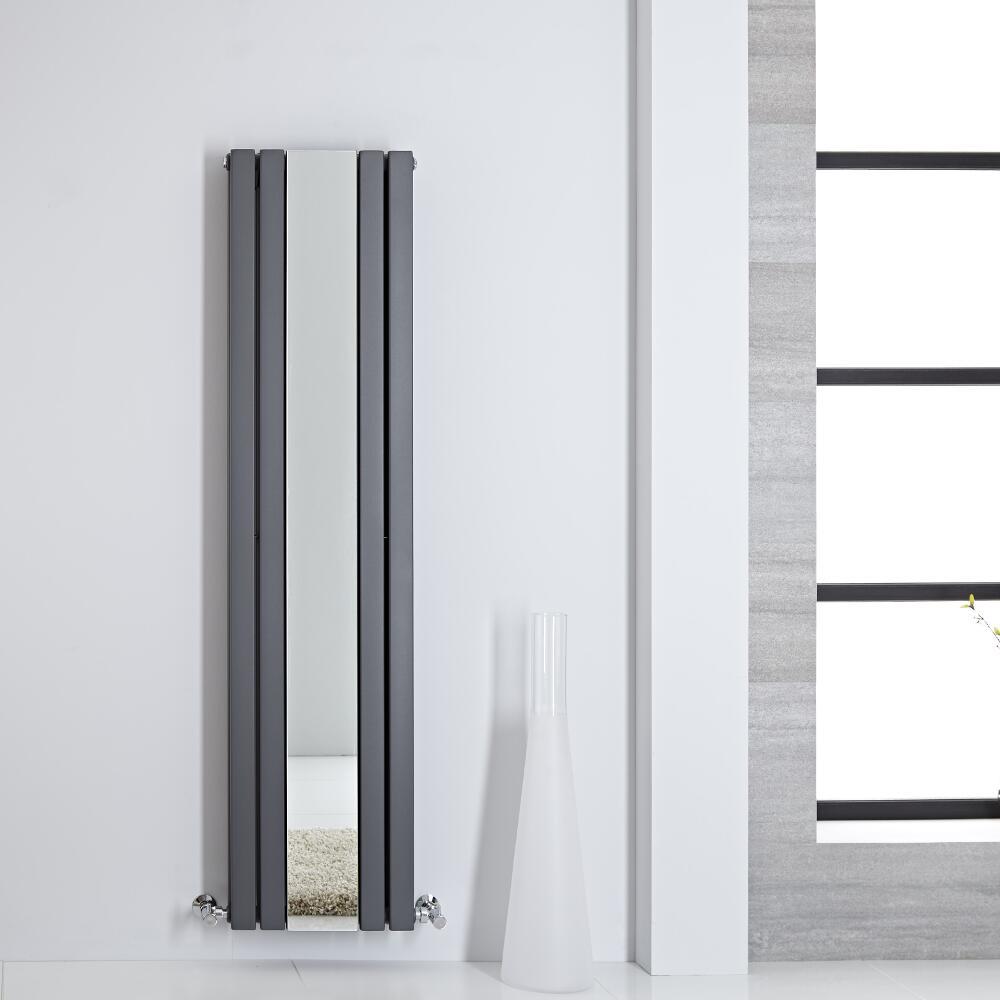Sloane Spiegelradiator Dubbelpaneel 160cm x 38,5cm x 7,2cm Antraciet 1212Watt