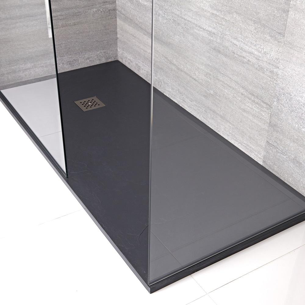 Kunststenen Douchebak + Doucheputje Rechthoek 140cm x 90cm x 3cm Antraciet