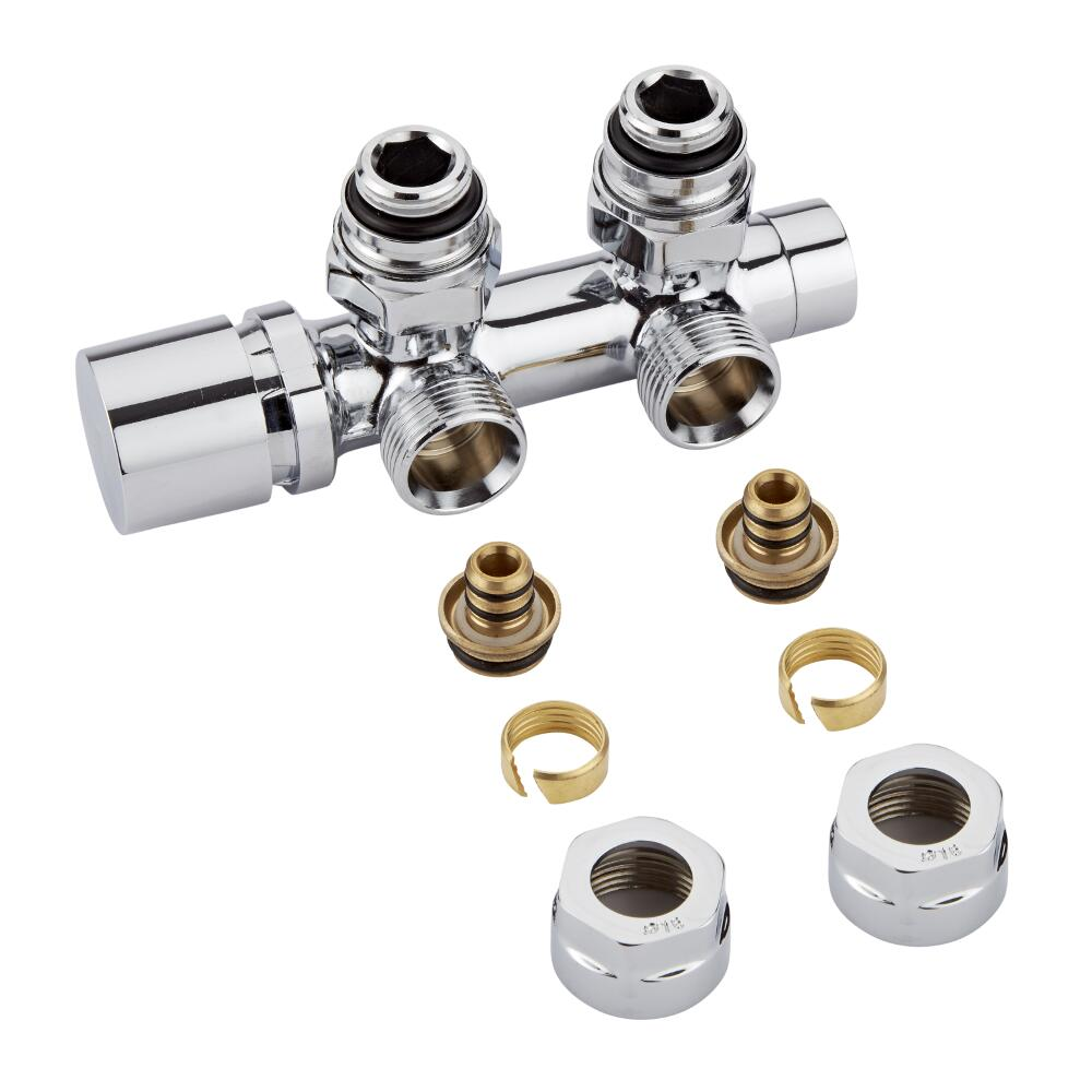 H-Blok 2-pijps Radiatorkraan Haaks  3/4'' Mannelijk Chroom 15mm Meerlagenbuis Adapter