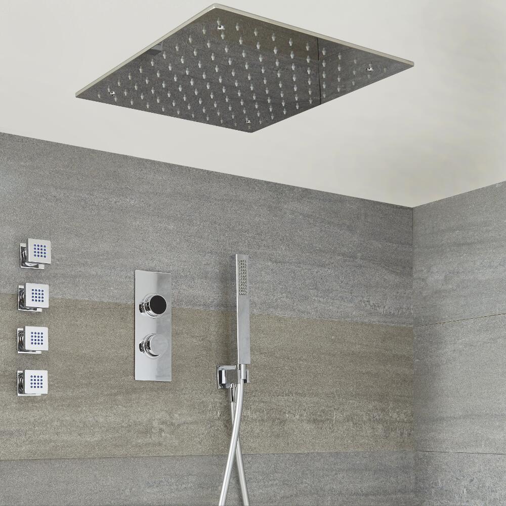 Narus - 3-weg Digitale Thermostaatkraan + 40 x 40cm Verzonken PlafondDouchekop + Handdouchecombi & Bodyjets