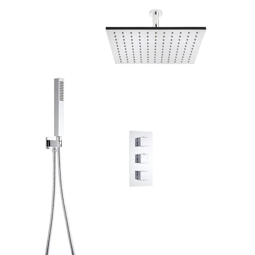 Hudson Reed vierkante 3 weg thermostatische douchekraan, 400mm douchekop, plafondbevestiging en handdouche