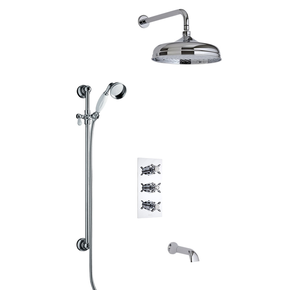 Traditional Triple Diverter Thermostatic Shower Valve with 150mm Head, Wall Arm, Slide Rail and Spout