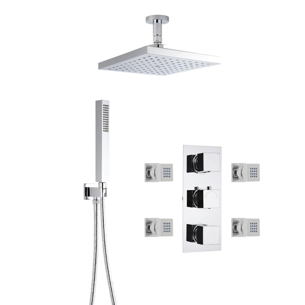 3-weg Inbouw Thermostaatkraan Vierkant met Omstel, 20 x 20 cm Plafond Regendouchekop, Handdouchecombinatie & Bodyjets
