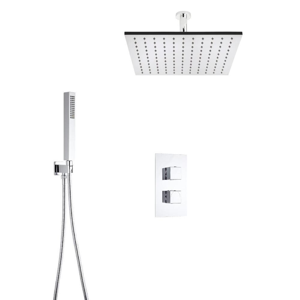 Hudson Reed vierkante 2 weg thermostatische douchekraan met richtklep 400mm douchekop, plafondbevestig en handdouche