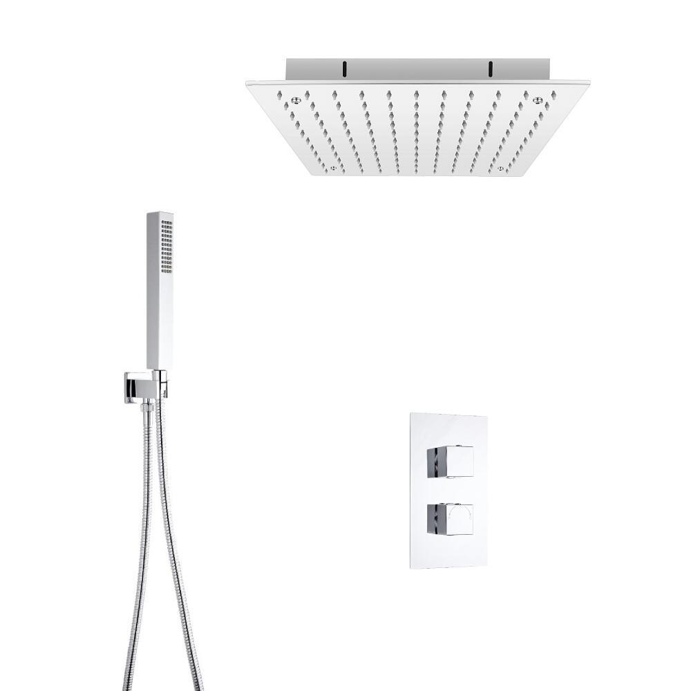 Vierkante thermostatische douchekraan, 40cm inbouw douchekop & handdouche