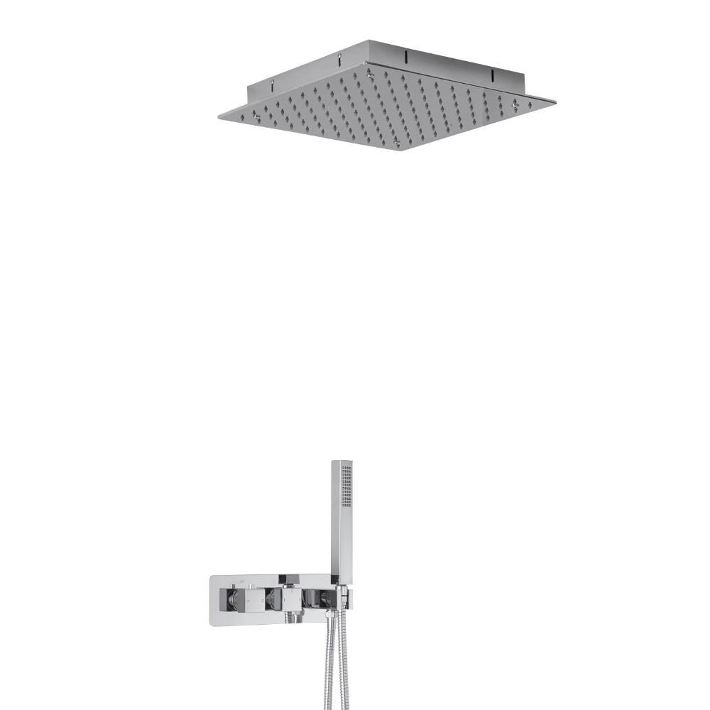Arvo 2-weg Inbouw Thermostaatkraan met 40 x 40cm Verzonken Plafond Douchekop  en Handdoucheset