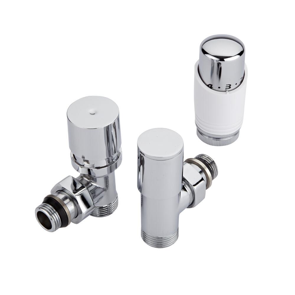 Thermostatische Radiatorkraan Haaks 3/4'' Mannelijk Wit met Keuze uit Adapters