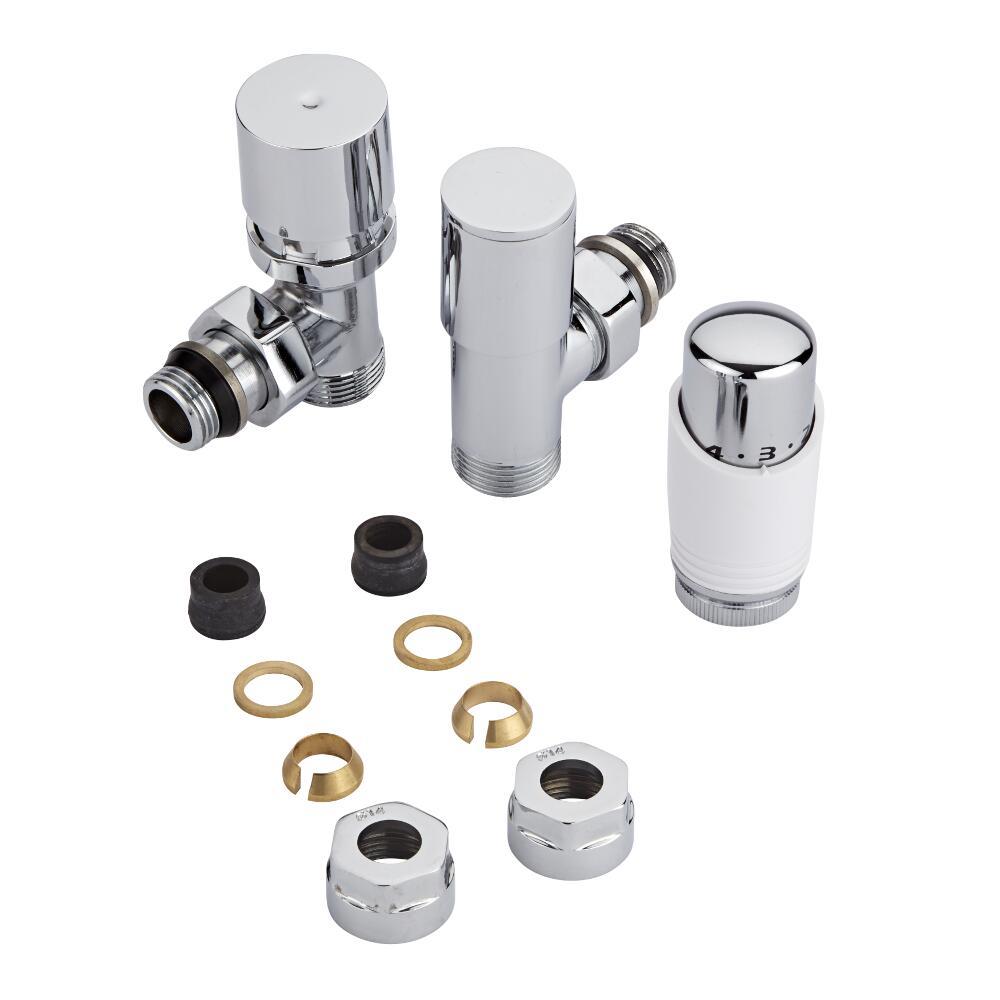 Thermostatische Radiatorkraan 3/4'' Mannelijk Chroom/Wit 14 mm Koperen Adapter