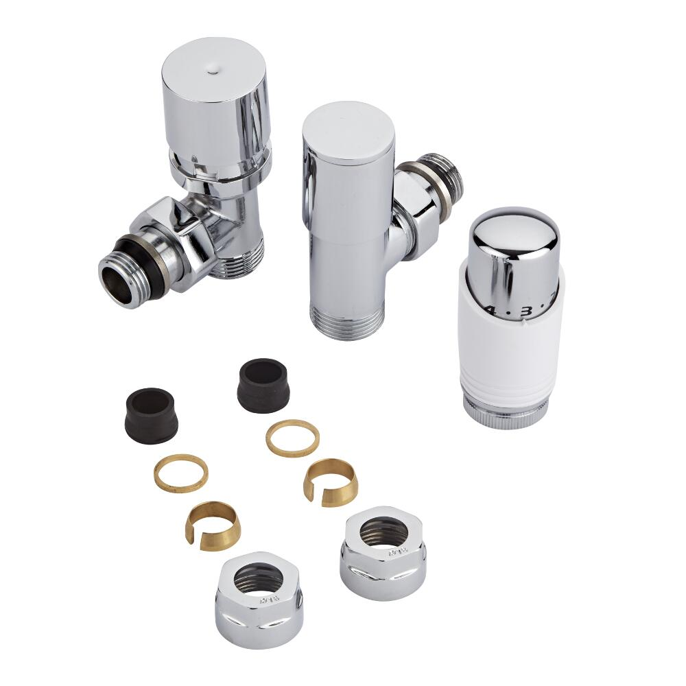 Thermostatische Radiatorkraan 3/4'' Mannelijk Chroom/Wit 16mm Koperen Adapter