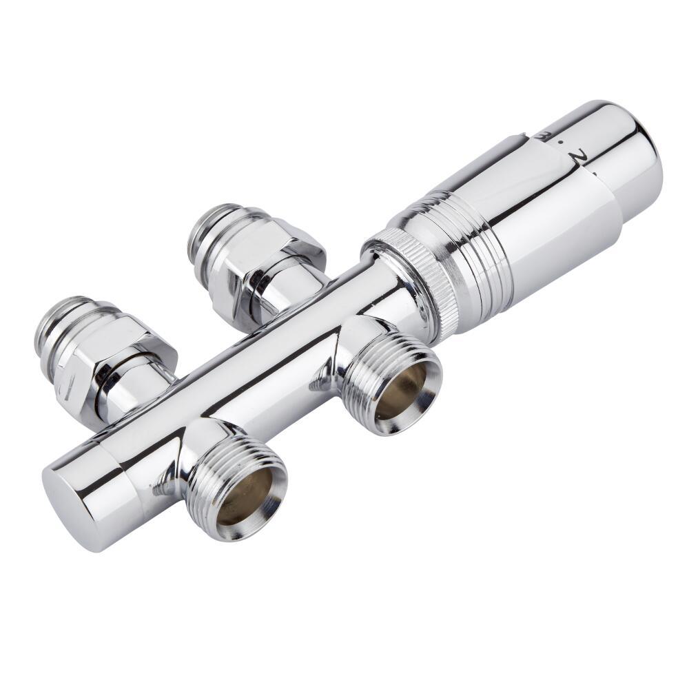 H-Blok 2-pijps Thermostatische Radiatorkraan Recht  3/4'' Mannelijk Chroom met Keuze uit Adapter