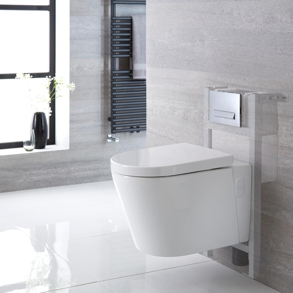 Exton hangend Keramiek Toilet Half Rond incl Inbouwreservoir (Small) en Keuze Spoelknop