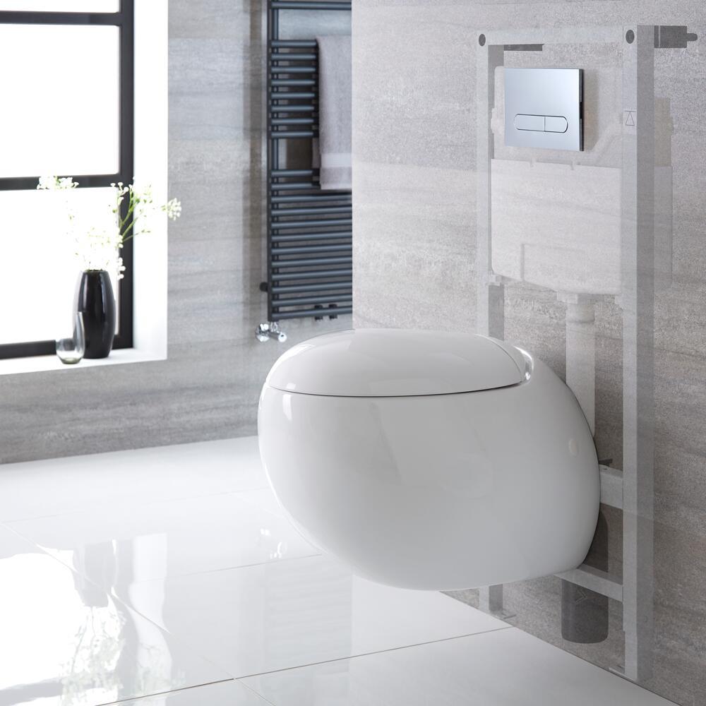 Langtree Hangend Keramiek Toilet Ovaal incl Inbouwreservoir (Large) en Keuze Spoelknop