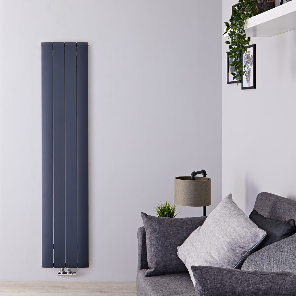 Aurora Designradiator Verticaal Middenaansluiting Aluminium Antraciet 160cm x 37,5cm x 4,5cm 1361 Watt