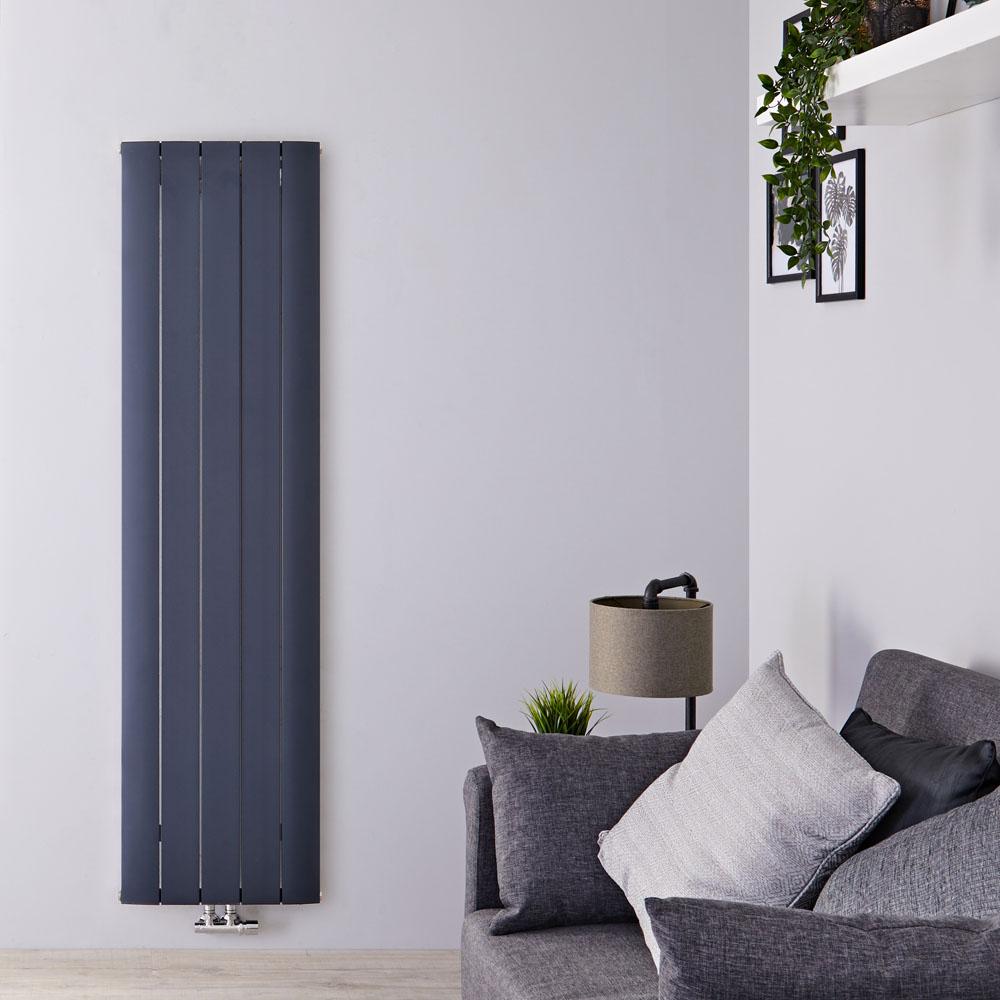 Designradiator Verticaal Aluminium Middenaansluiting Antraciet 180cm x 47cm 1729 Watt | Aurora