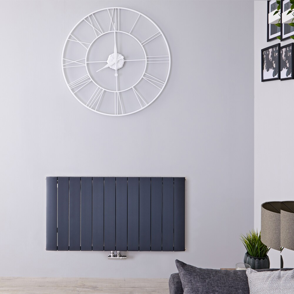 Designradiator Horizontaal Aluminium Middenaansluiting Antraciet 60cm x 113,5cm 1535 Watt | Aurora