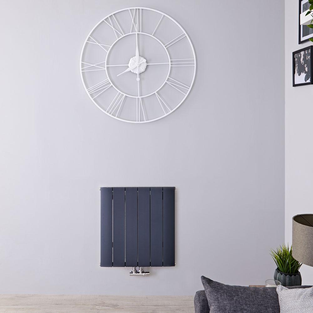 Aurora Designradiator Horizontaal Middenaansluiting Aluminium Antraciet 60cm x 56,5cm x 4,5cm 768 Watt