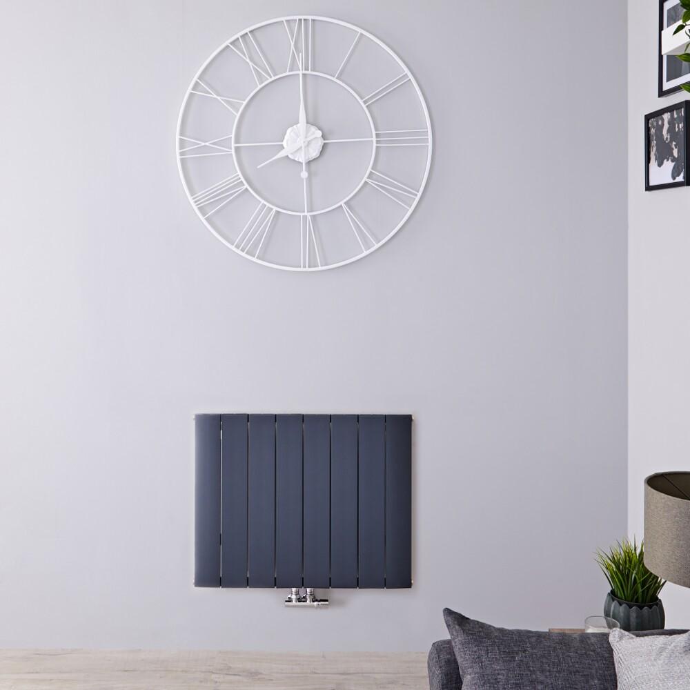 Designradiator Horizontaal Aluminium Middenaansluiting Antraciet 60cm x 75,5cm 1024 Watt | Aurora