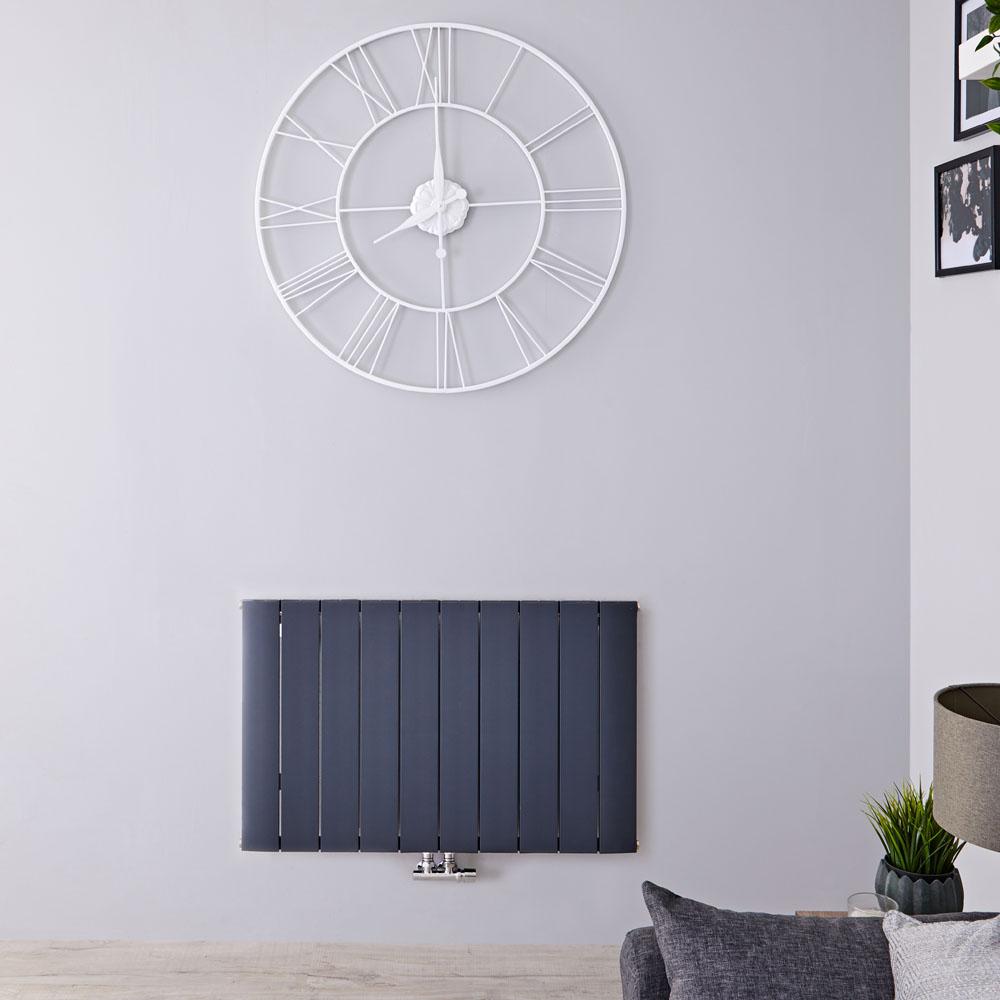 Designradiator Horizontaal Aluminium Middenaansluiting Antraciet 60cm x 94,5cm 1153 Watt | Aurora