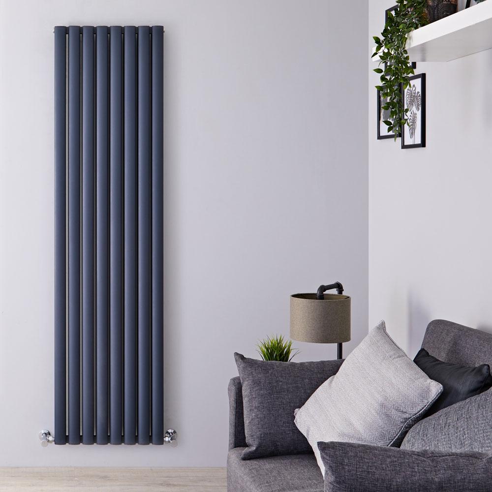 Revive Air Verticale Aluminium Dubbelpaneel Designradiator Antraciet 180cm x 47cm x 7,6cm 2004Watt