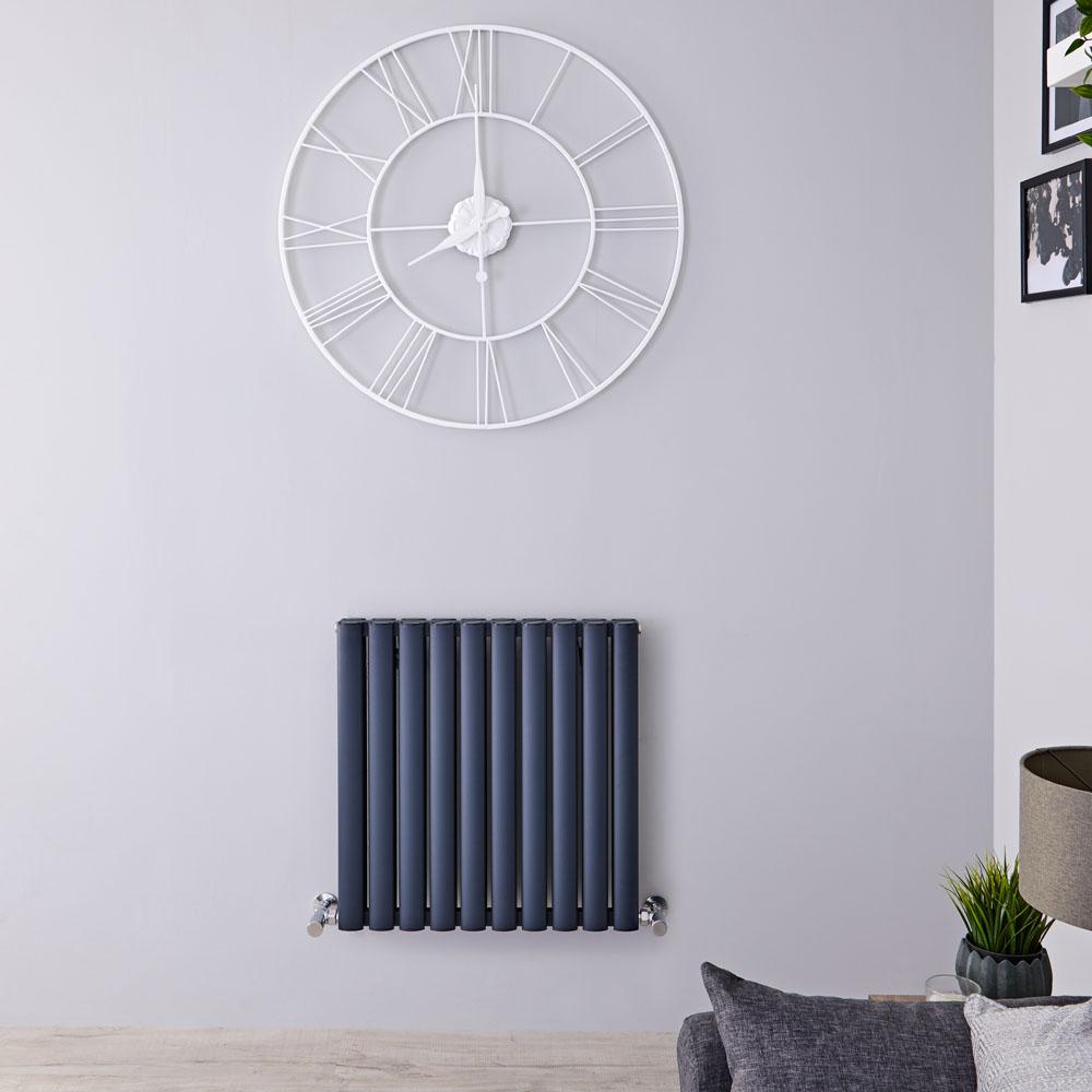 Revive Air Horizontale Aluminium Dubbelpaneel Designradiator Antraciet 60cm x 59cm x 7,6cm 1149Watt