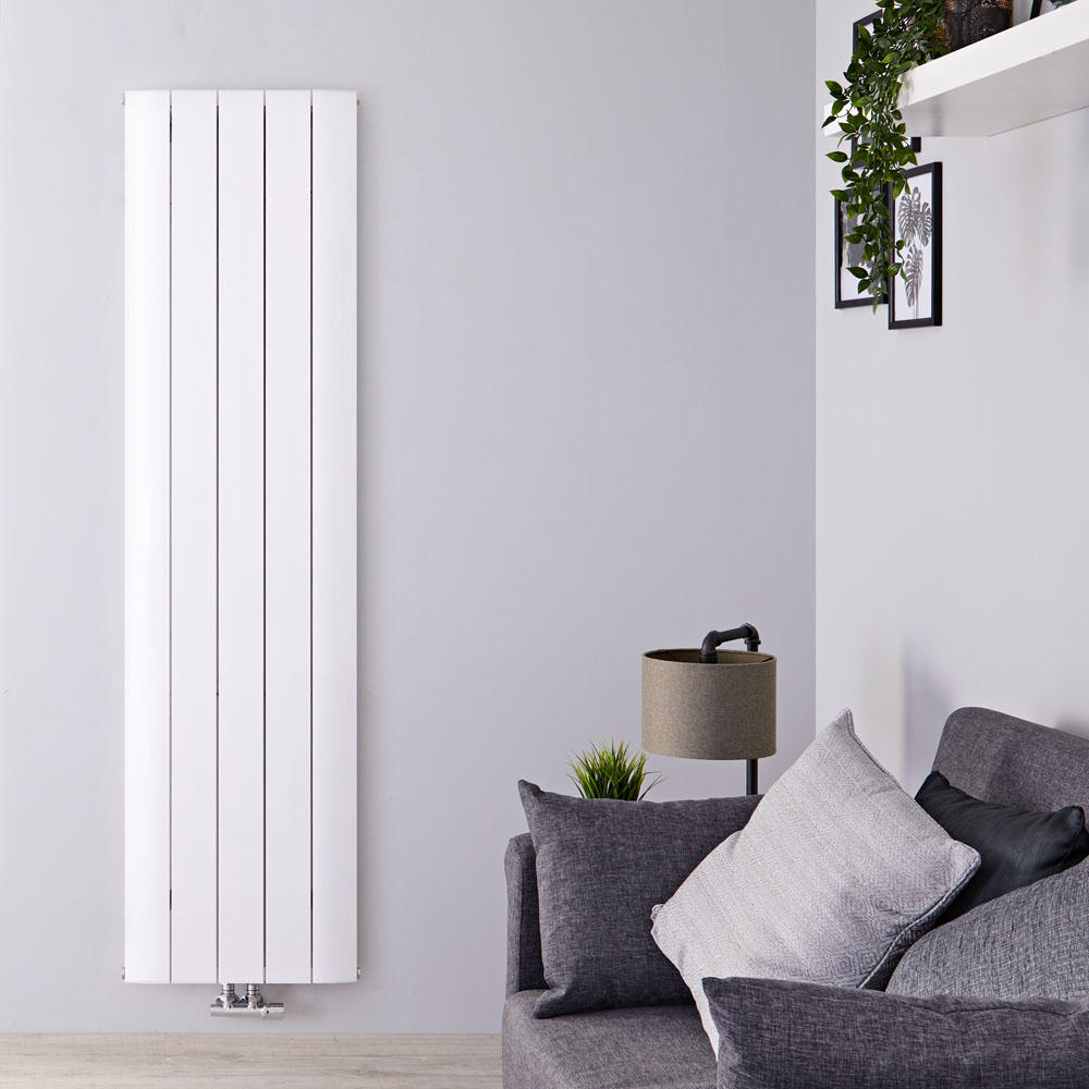 Designradiator Verticaal Aluminium Middenaansluiting Wit 160cm x 47cm 1701 Watt | Aurora