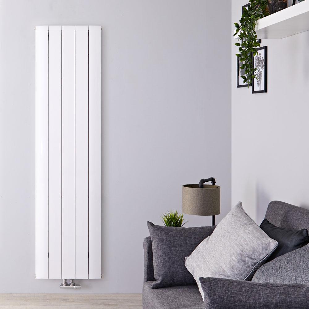 Designradiator Verticaal Aluminium Middenaansluiting Wit 180cm x 47cm 1729 Watt | Aurora