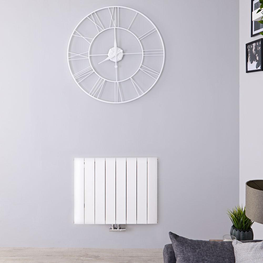 Designradiator Horizontaal Aluminium Middenaansluiting Wit 60cm x 75,5cm 922 Watt | Aurora
